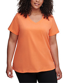 Calvin Klein Performance Plus Size Logo Patch V-Neck T-Shirt