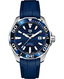 Men's Swiss Automatic Aquaracer Calibre 5 Blue Rubber Strap Watch 43mm