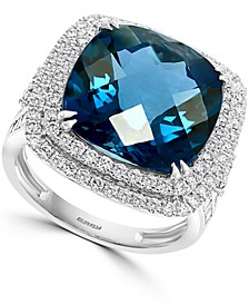 EFFY® London Blue Topaz (12-1/3 ct. t.w.) & Diamond (1-1/5 ct. t.w.) Halo Statement Ring in 14k White Gold