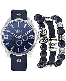 Men's Navy Strap Watch 46mm Gift Set