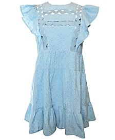 Cleo Ruffled Eyelet Cotton Dress