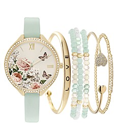 Women's Mint Green Strap Watch 38mm Gift Set