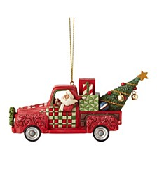Santa in Red Truck Ornament