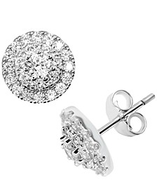 Cubic Zirconia Halo Cluster Stud Earrings in Fine Silver-Plate