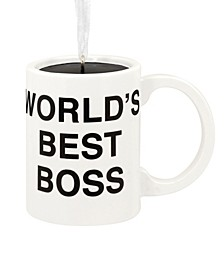 The Office Worlds Best Boss Coffee Mug Christmas Ornament