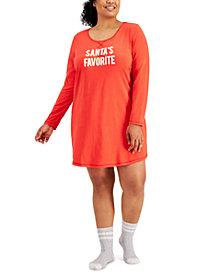 Jenni Plus Size Sleepshirt & Socks 2pc Set, Created for Macy's