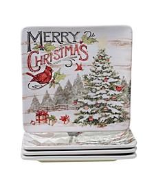 Evergreen Christmas 4 Piece Dinner Plate