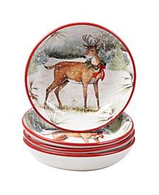 Winter Forest 4 Piece Soup Bowl
