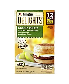 Delights Turkey Sausage, Egg White Cheese English Muffin, 12 Count