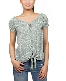Juniors' Floral Print Peasant Top