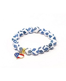 Tibetan Agate Stars and Stripes Star Give Back Collection Bracelet