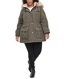 Plus Size Faux-Fur-Trim Hooded Anorak