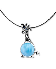 "Larimar & Blue Spinel Giraffe 21"" Pendant Necklace in Sterling Silver"