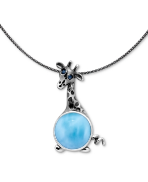 "Larimar & Blue Spinel Giraffe 21"" Pendant Necklace in Sterling Silver"