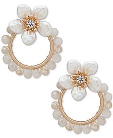 Gold-Tone Pavé & Mother-of-Pearl Flower Doorknocker Drop Earrings