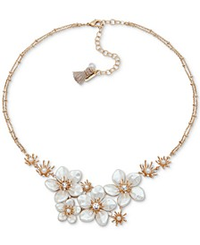 "Gold-Tone Crystal & Imitation Pearl Flower Double-Chain Statement Necklace, 16"" + 3"" extender"