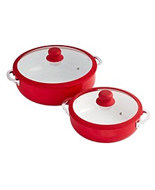 2-Pc. Red Ceramic Caldero Set