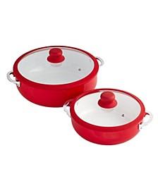 2-Pc. Red Ceramic Caldero Set