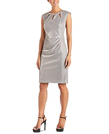 Embellished-Neck Metallic Sheath Dress