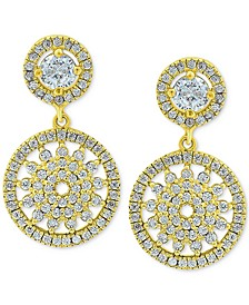 Cubic Zirconia Medallion Drop Earrings, Created for Macy's