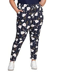 Plus Size Floral-Print Drawstring-Waist Skinny Ankle Pants