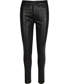 Coated B(air) High Waist Skinny Jeans with Faux Pockets