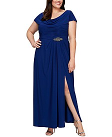Plus Size Cowl-Neck A-Line Gown