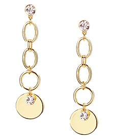 INC Gold-Tone Crystal & Disc Charm Linear Drop Earrings, Created for Macy's