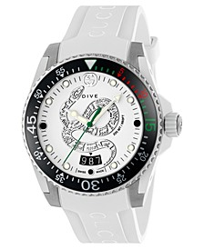 Men's Swiss Dive White Rubber Strap Watch 40mm