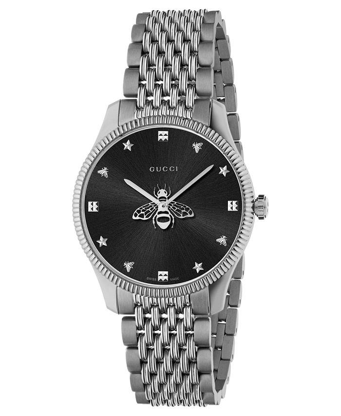 Gucci - Women's Swiss G-Timeless Slim Stainless Steel Bracelet Watch 36mm
