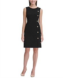 Button-Detail Sheath Dress