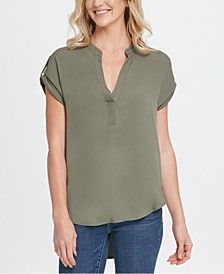 Split-Neck High-Low Top