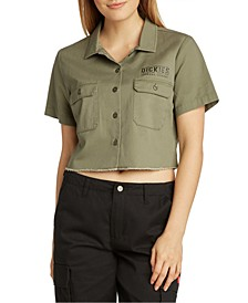Juniors' Cropped Collared Shirt