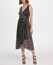 Sleeveless Double-V Faux Wrap Dress