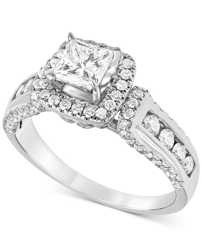 Macy's - Diamond (1-1/2 ct. t.w.) Princess Halo Engagement Ring in 14k White Gold