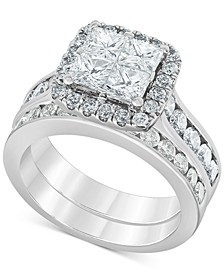 Diamond (2-7/8 ct. t.w.) Princess Quad Cluster Bridal Set in 14k White Gold