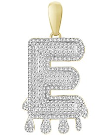 Men's Diamond (1/3 ct.t.w.) Dripping Initial Pendant in 10K Yellow Gold