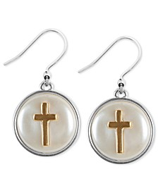 Two-Tone Cross Mother-of-Pearl Drop Earrings