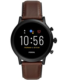Tech Gen 5 Carlyle HR Brown Leather Strap Smart Watch 44mm, Powered by Wear OS by Google