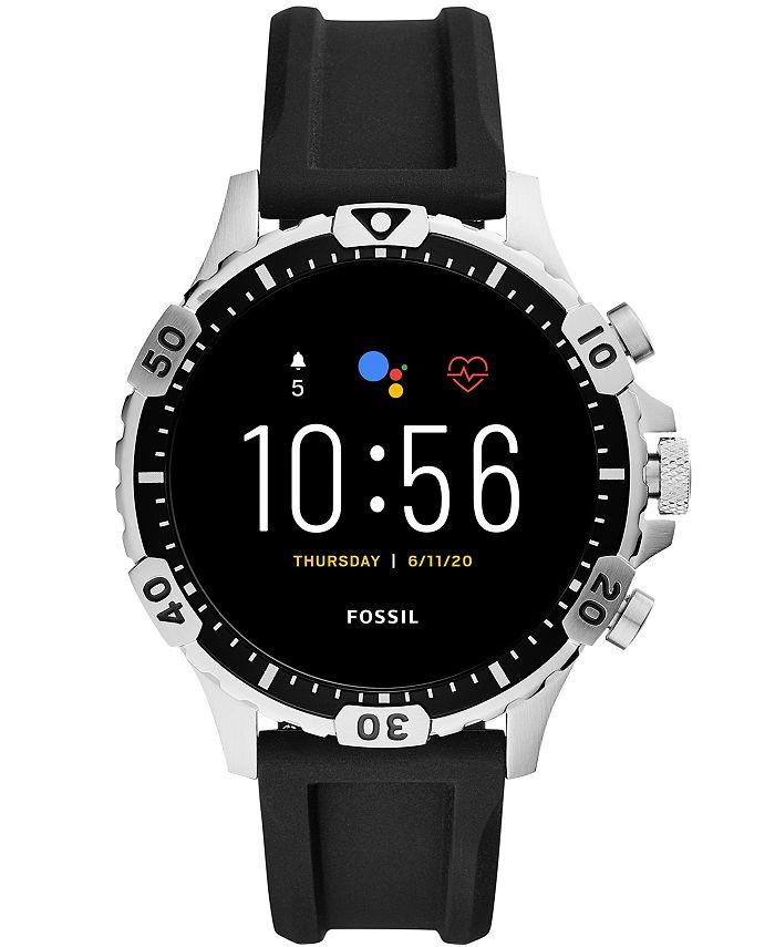 Fossil - Men's Gen 5 HR Black Silicone Strap Touchscreen Smart Watch 46mm
