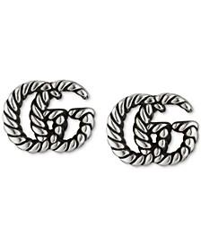 Double G Motif Rope Stud Earrings in Sterling Silver