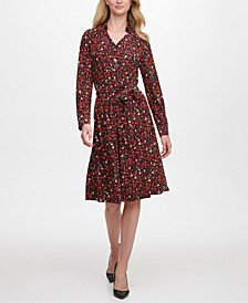 Ditsy Floral-Print Shirtdress