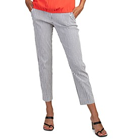 Moss Striped Cropped Pants