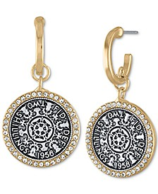 Two-Tone Coin Drop Earrings