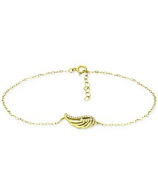 Cubic Zirconia Wing Chain Ankle Bracelet, Created for Macy's
