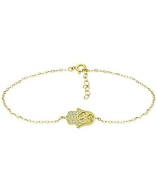 Cubic Zirconia Hamsa Hand Ankle Bracelet, Created for Macy's