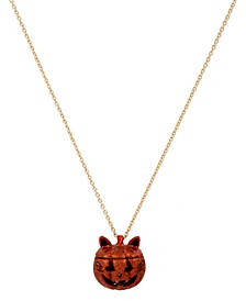 "Gold-Tone Pavé Jack-o-Lantern Cat Locket Pendant Necklace, 30"" + 3"" extender"