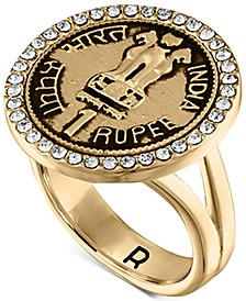 Gold-Tone Pavé Coin Statement Ring