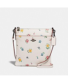 Kitt Leather Messenger Crossbody With Wildflower Print