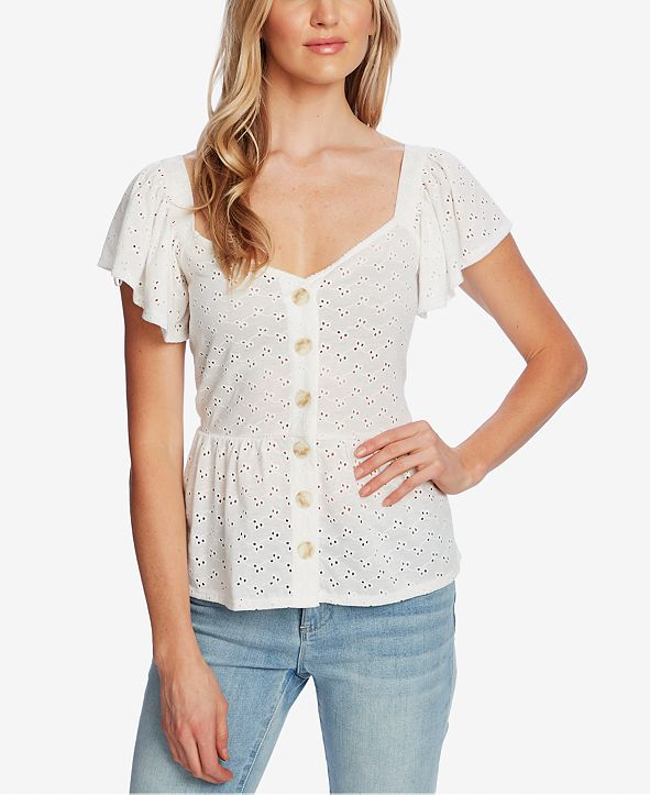 CeCe Peplum-Hem Eyelet-Embroidered Top